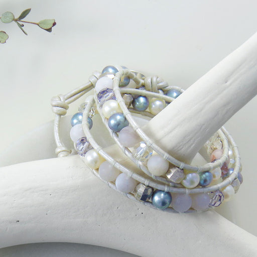 WHITE PEARL MIX DOUBLE WRAP BRACELET