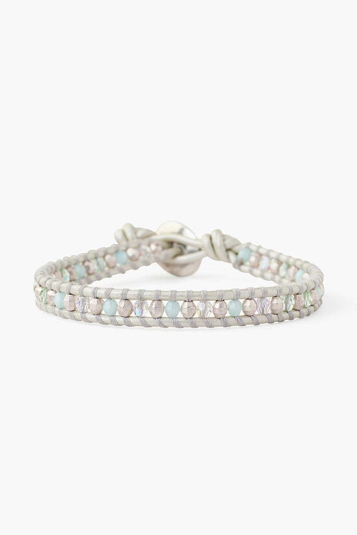 Sterling Silver & Mint Single Wrap Bracelet