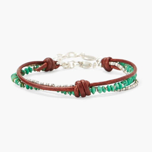 Green Turquoise & Silver Bead Bracelet