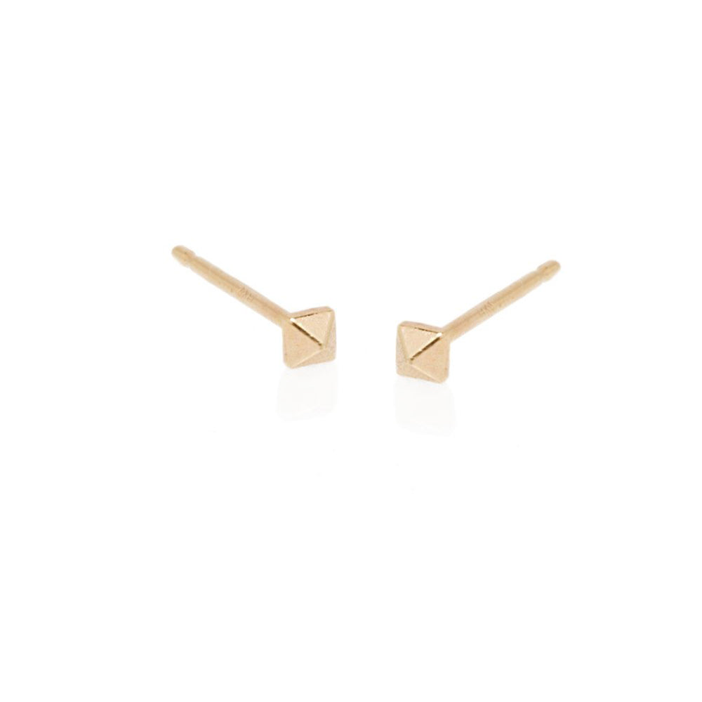14K YG BABY SPIKE STUD EARRINGS - 2MM