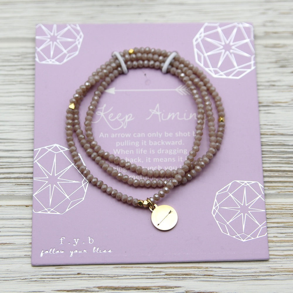 Keep Aiming ~ Stretchy Nude Crystal Wrap Bracelet