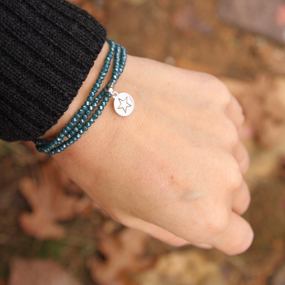 You're A Star ~ Stretchy Teal Crystal Wrap Bracelet
