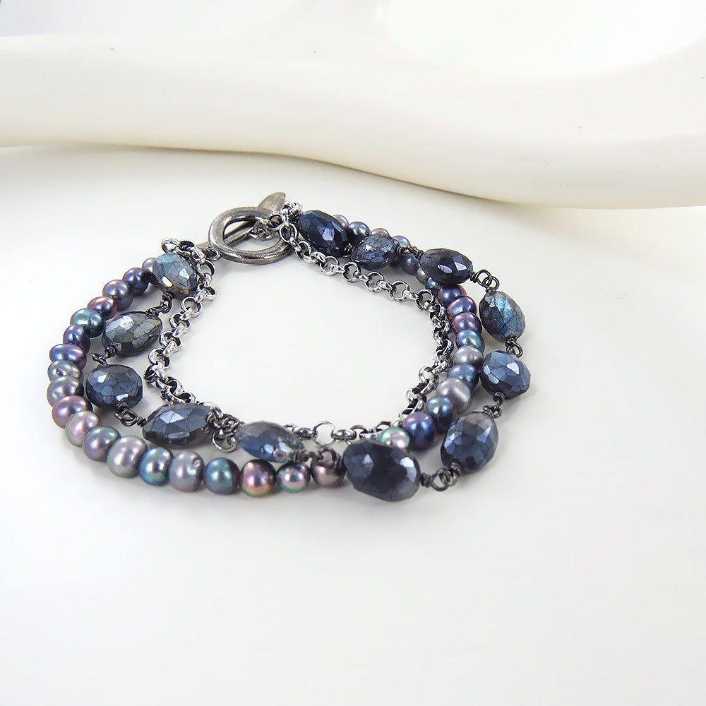 MULTISTRAND TWILIGHT PEARL BRACELET AND LABRADORIT