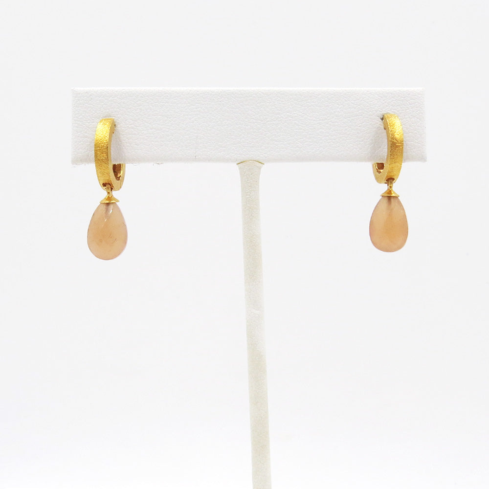 FACETED PEACH MOONSTONE HUGGIE EARRINGS