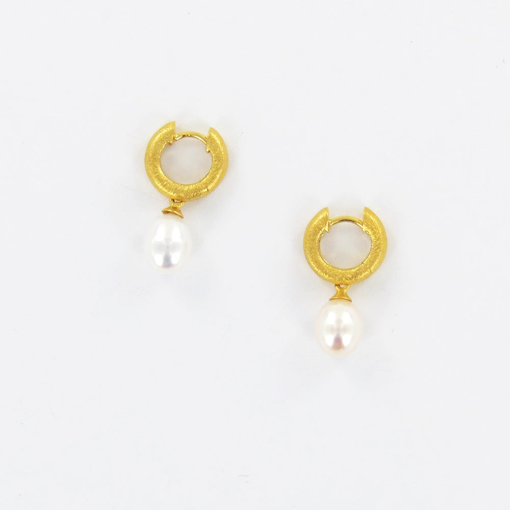 WHITE PEARL HUGGIE EARRINGS