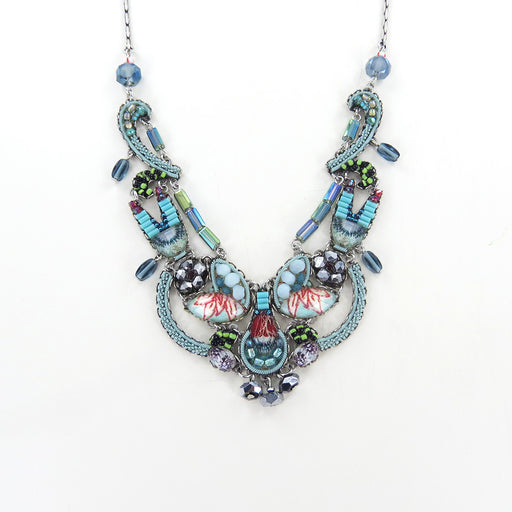 TAPESTRY DELIGHT EARRING BLUE AYALA BAR BIB ADJUSTABLE NECKLACE