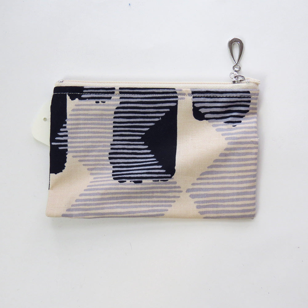 BLACK AND GREY ABSTRACT COTTON COIN PURSE