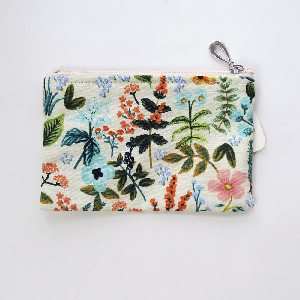 IVORY FLORAL STUDY COTTON COIN PURSE