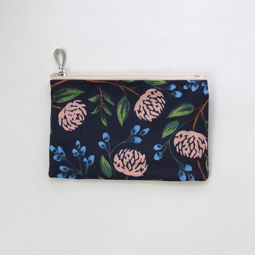 NAVY PEONY COTTON COIN PURSE