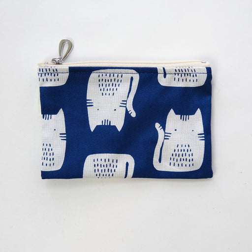 BLUE CAT COTTON COIN PURSE
