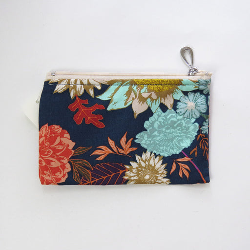 NAVY FALL FLORAL  COTTON COIN PURSE