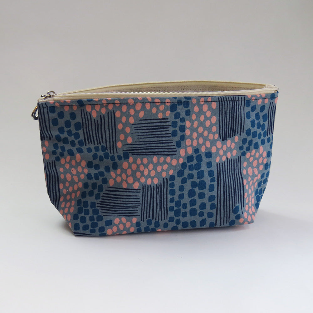 TEAL AND ROSE ABSTRACT MAKEUP BAG