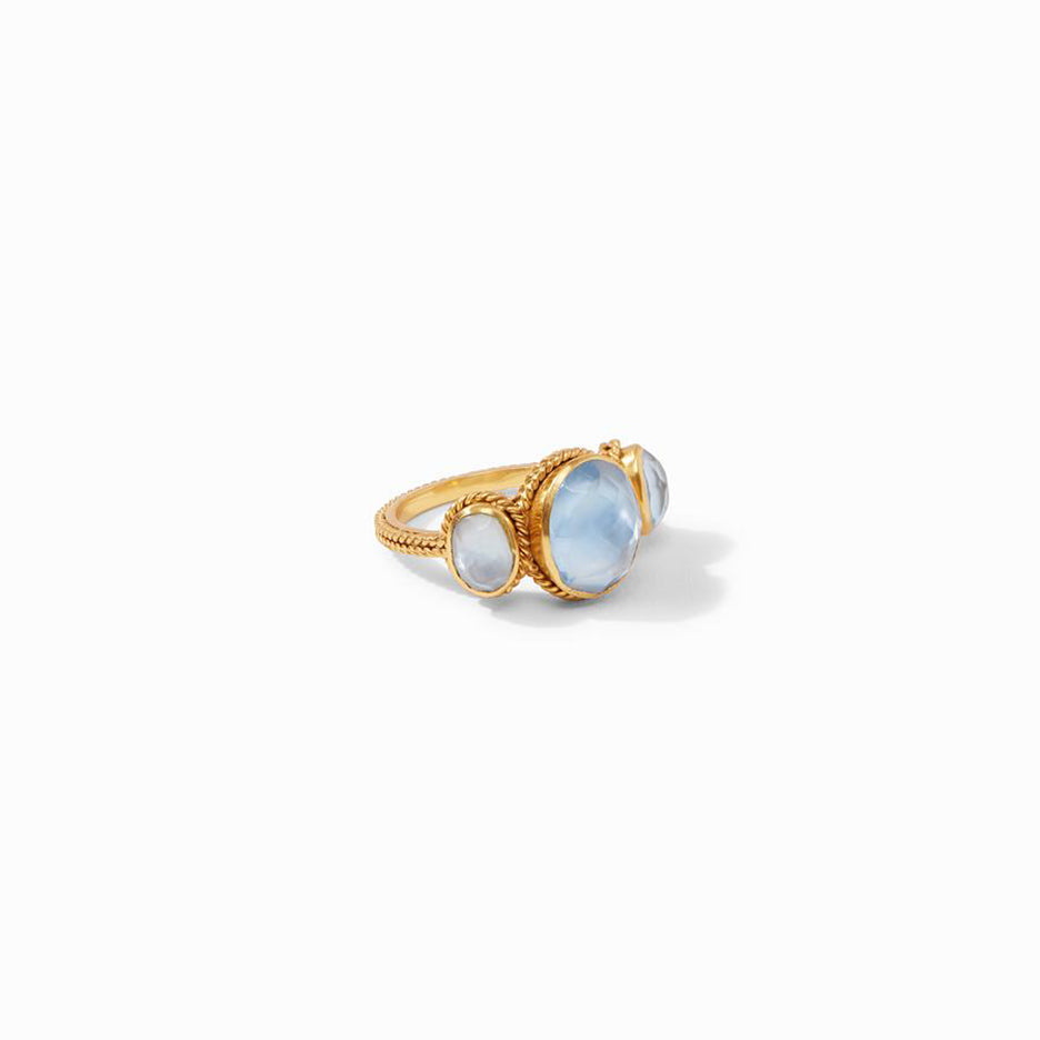 CALYPSO RING GOLD IRIDESCENT CHALCEDONY BLUE