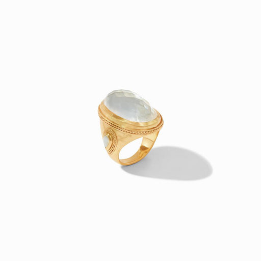 Iridescent Clear Crystal Cassis Statement Ring
