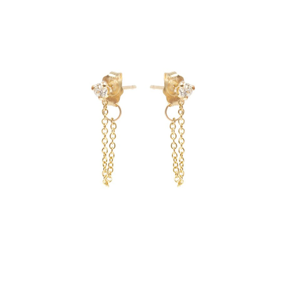 14K WHITE DIAMOND AND CHAIN EARRINGS