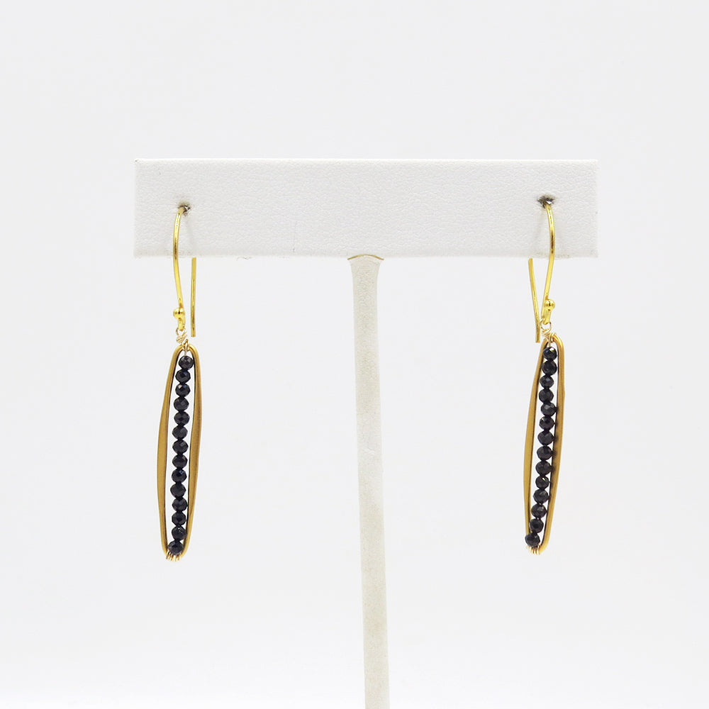 Skinny Oval Black Spinel Earring