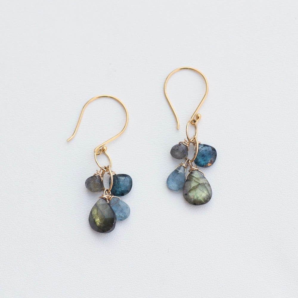 Small Labradorite and Moss Aquamarine Rainfall Ear