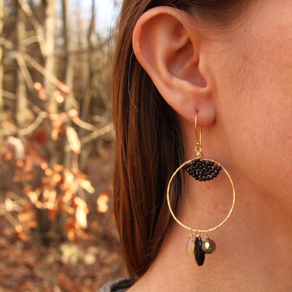 Black Spinel and Opal Hoop Earring