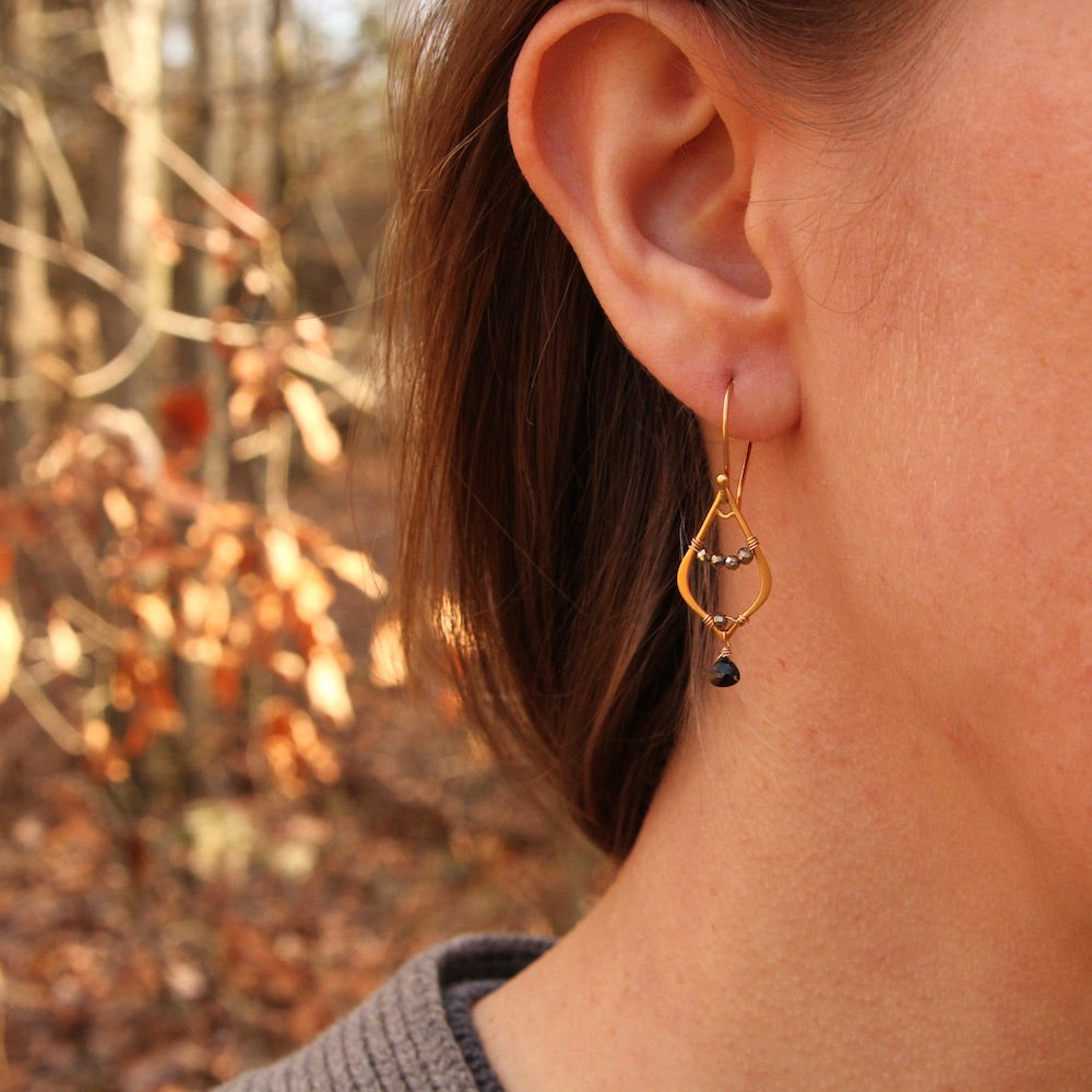 Gold Filled Open Teardrop Window ~ Black Spinel Earring