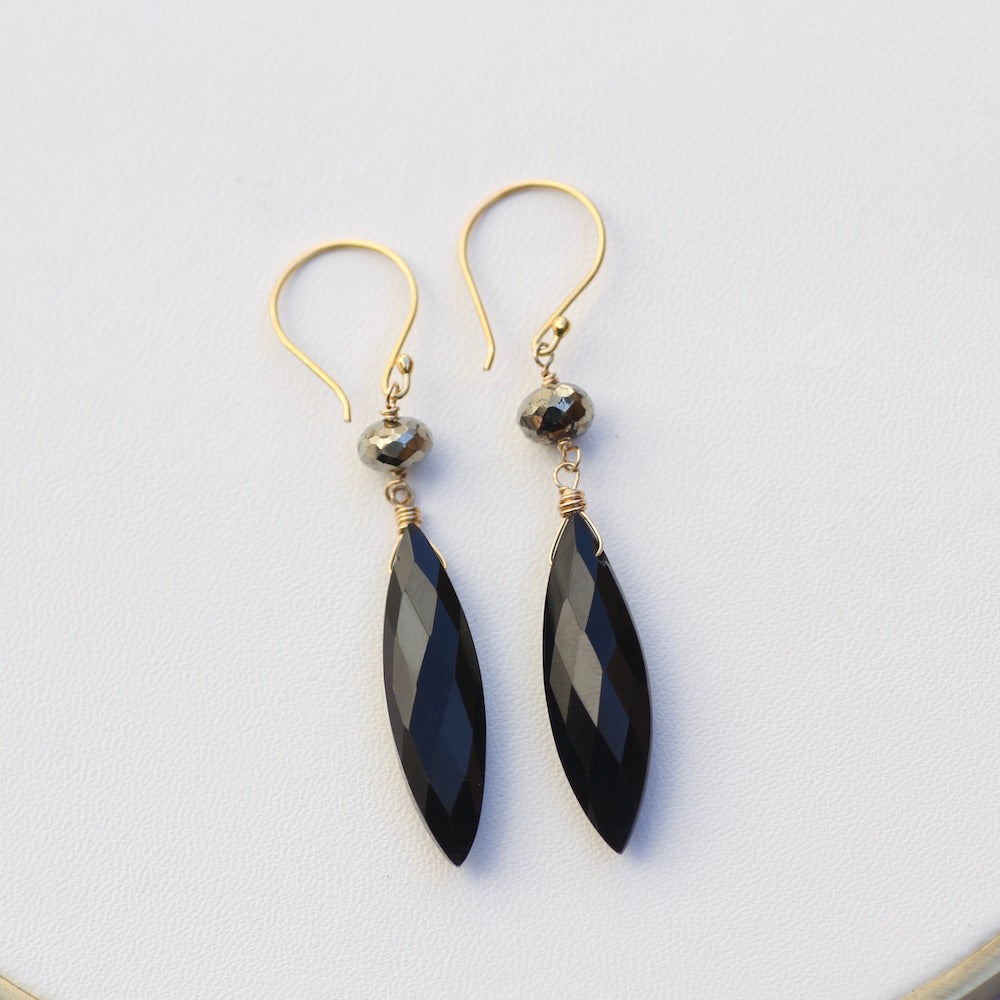 Black Spinel Leaf Earring