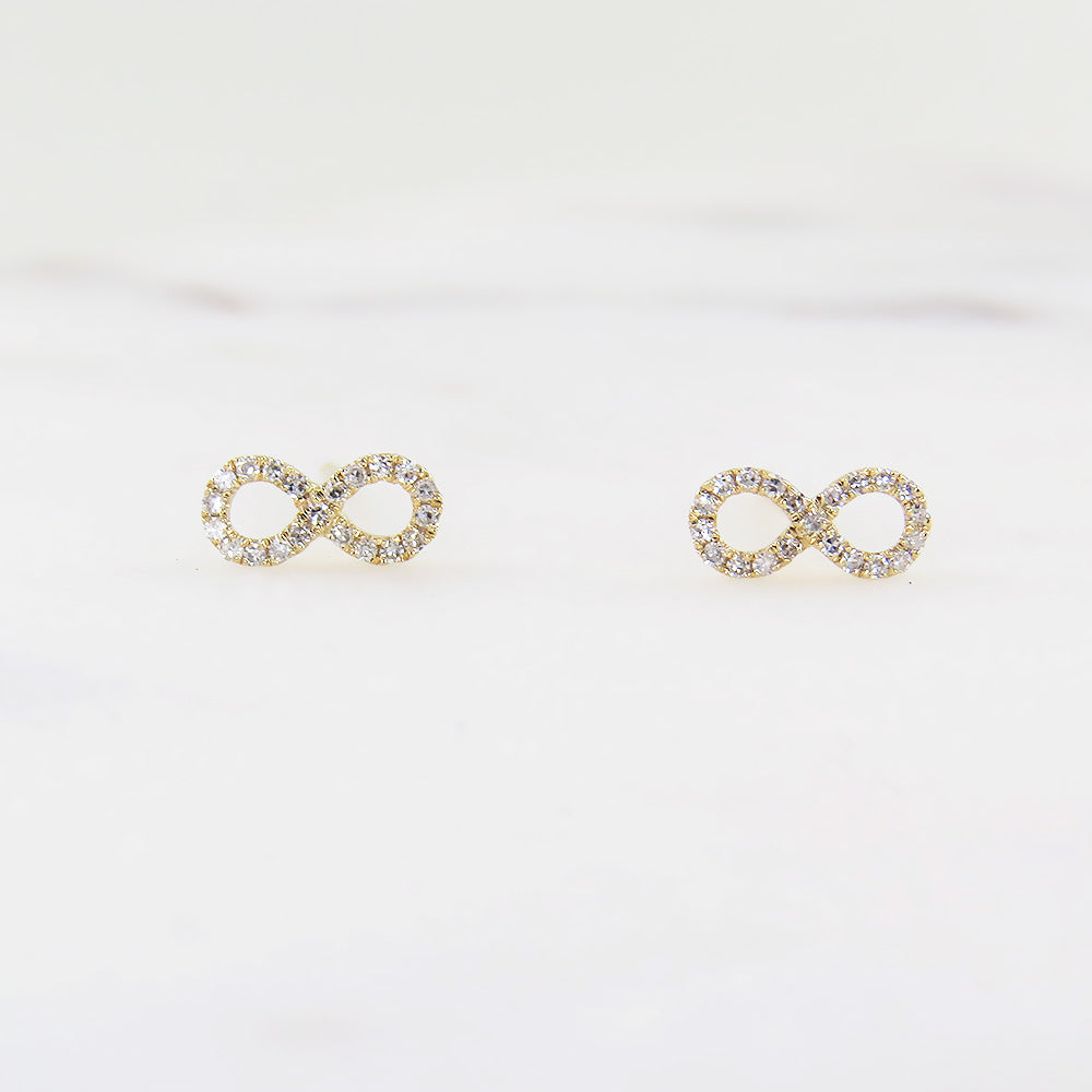 YELLOW GOLD MINI INFINITY POST EARRING