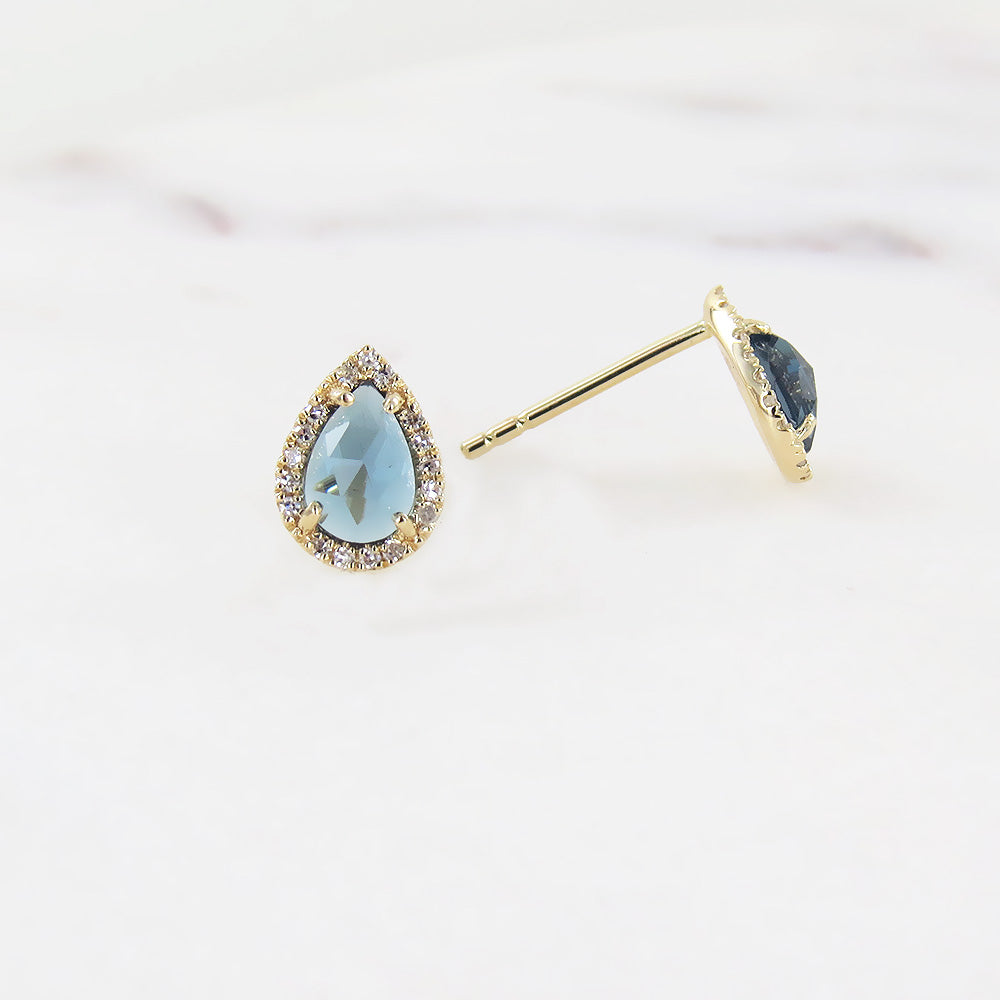 PEAR SHAPE LONDON BLUE TOPAZ POST EARRING