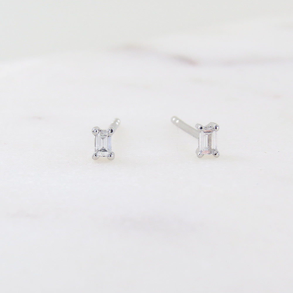 PETITE PRONG SET BAGUETTE  DIAMOND POST EARRINGS