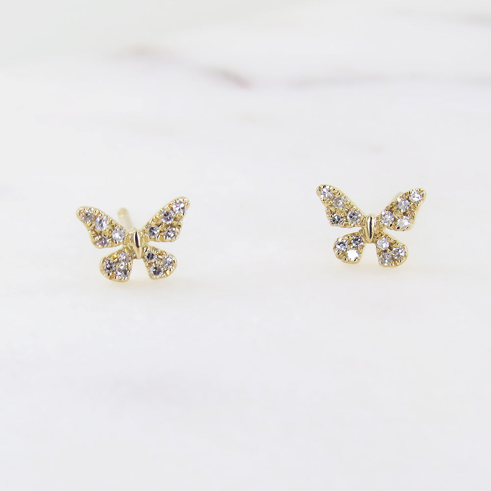 DIAMOND BUTTERFLY POST EARRINGS