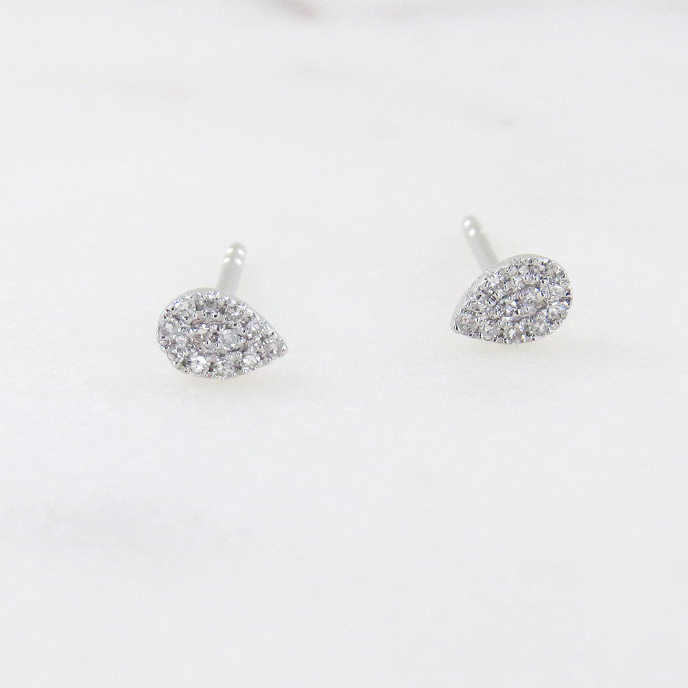 WHITE GOLD PEAR PAVE  POST EARRINGS