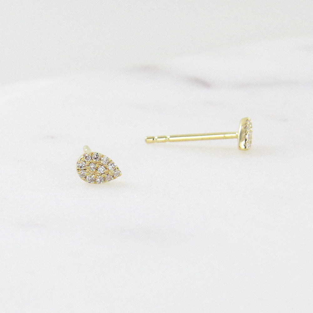 YELLOW GOLD PEAR PAVE  POST EARRINGS