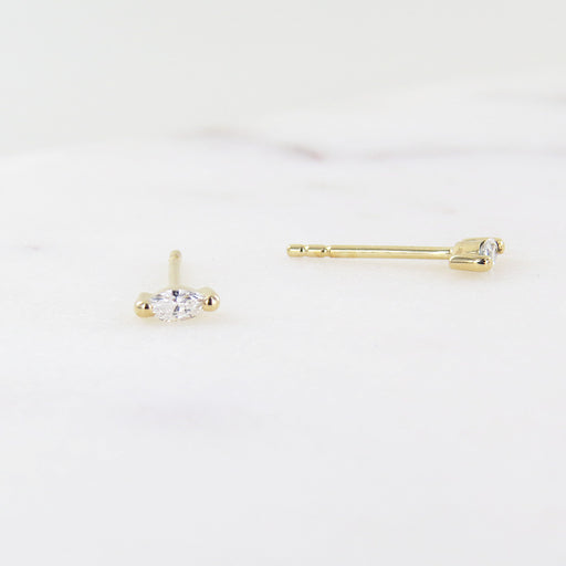 YELLOW GOLD PETITE MARQUISE DIAMOND POST EARRINGS