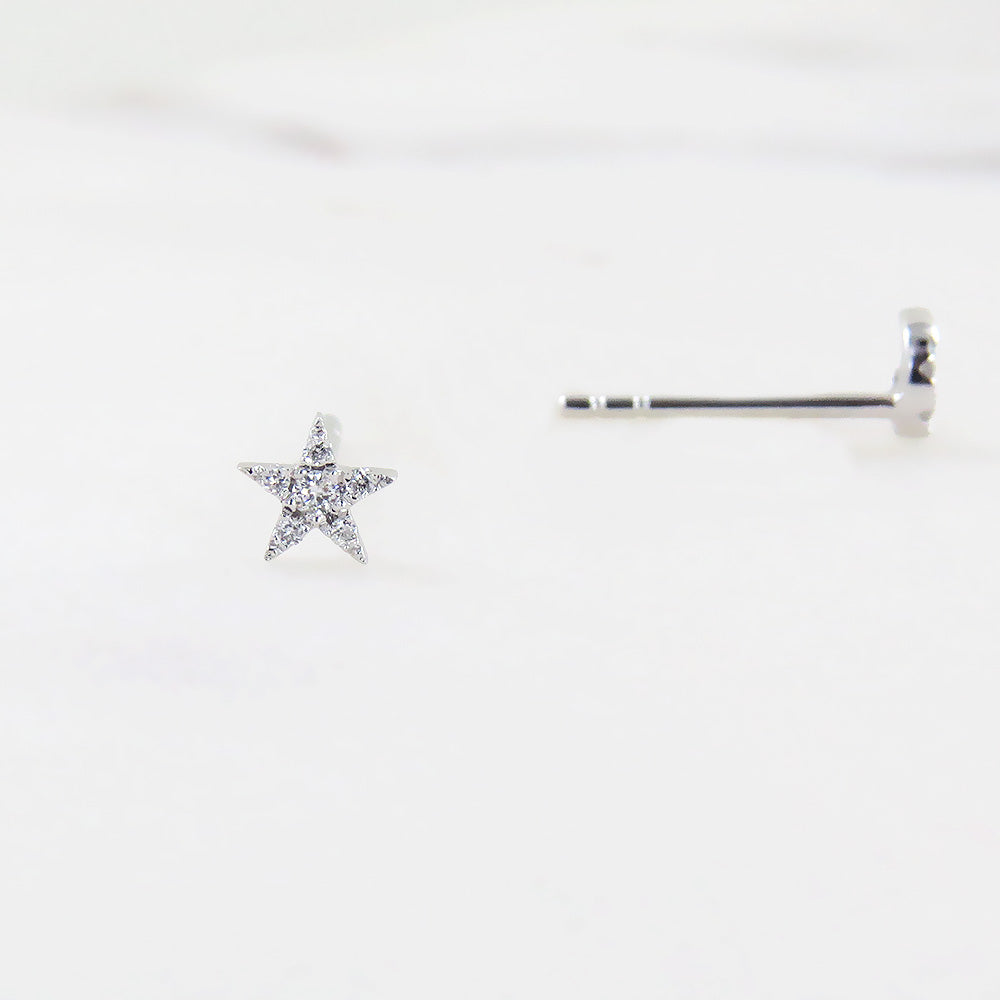 WHITE GOLD SUPER MINI STAR AND MOON POST EARRINGS