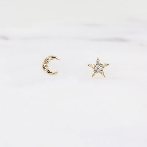 YELLOW GOLD SUPER MINI STAR AND MOON POST EARRINGS