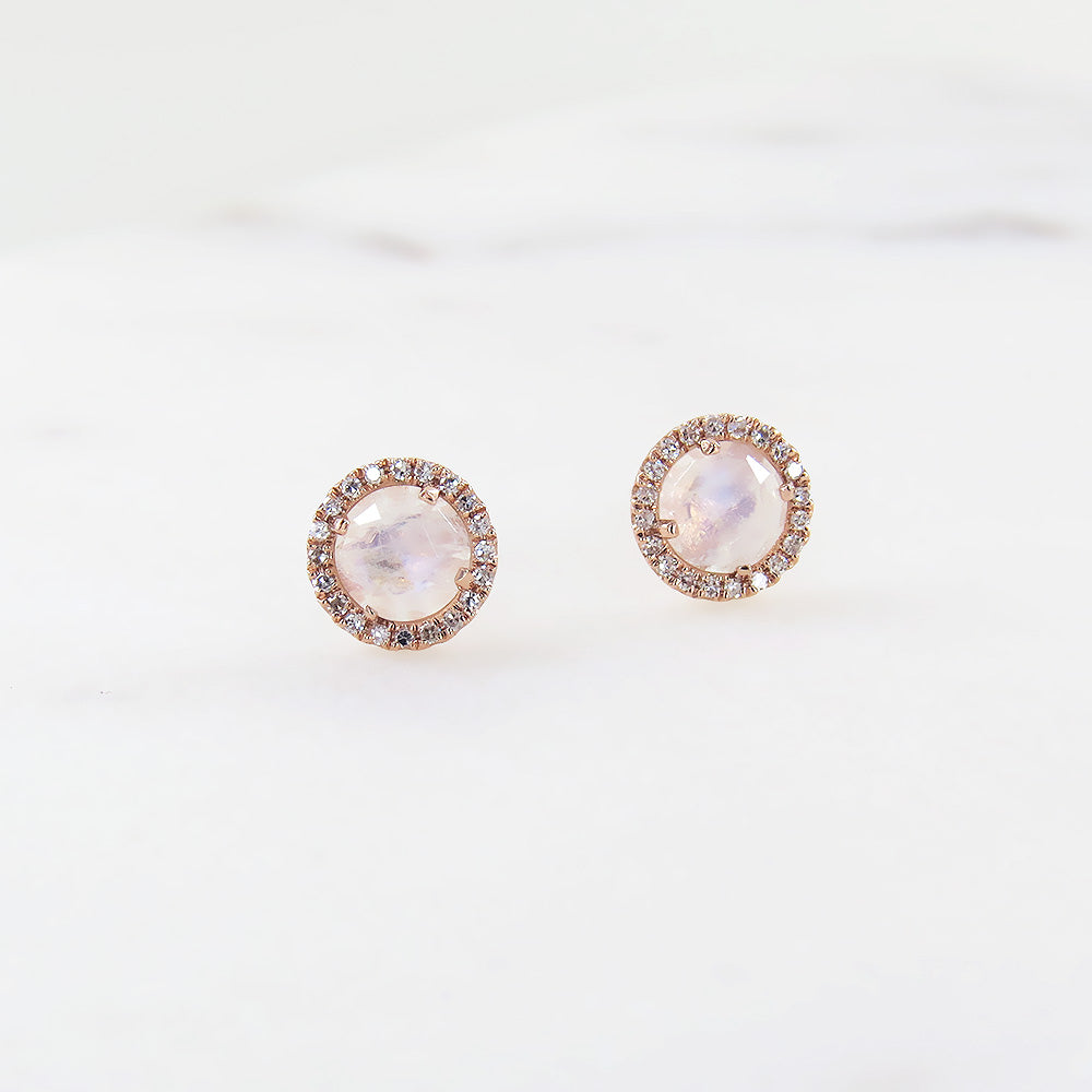 Rose Cut Rainbow Moonstone Earring -14k Rose Gold