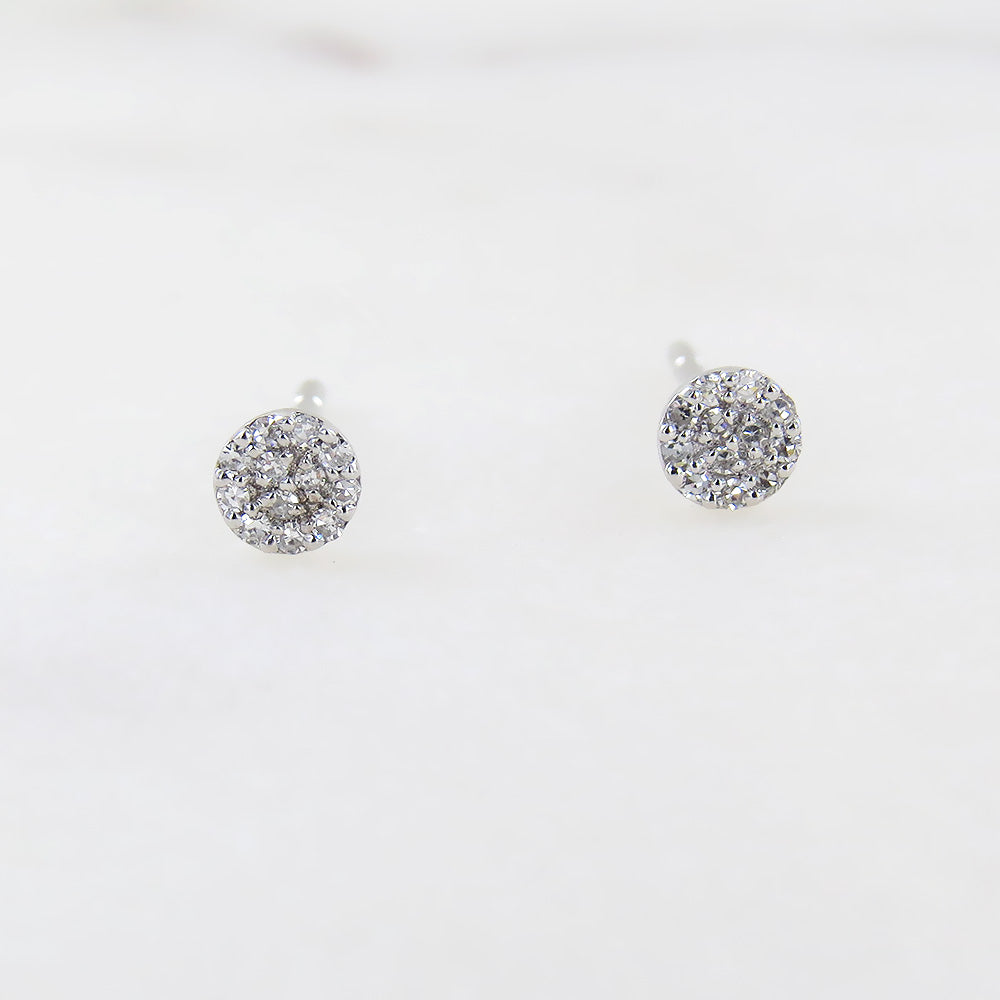 WHITE GOLD MINI ROUND PAVE POST EARRING