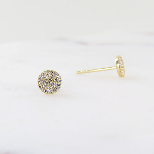 YELLOW GOLD ROUND PAVE POST EARRING