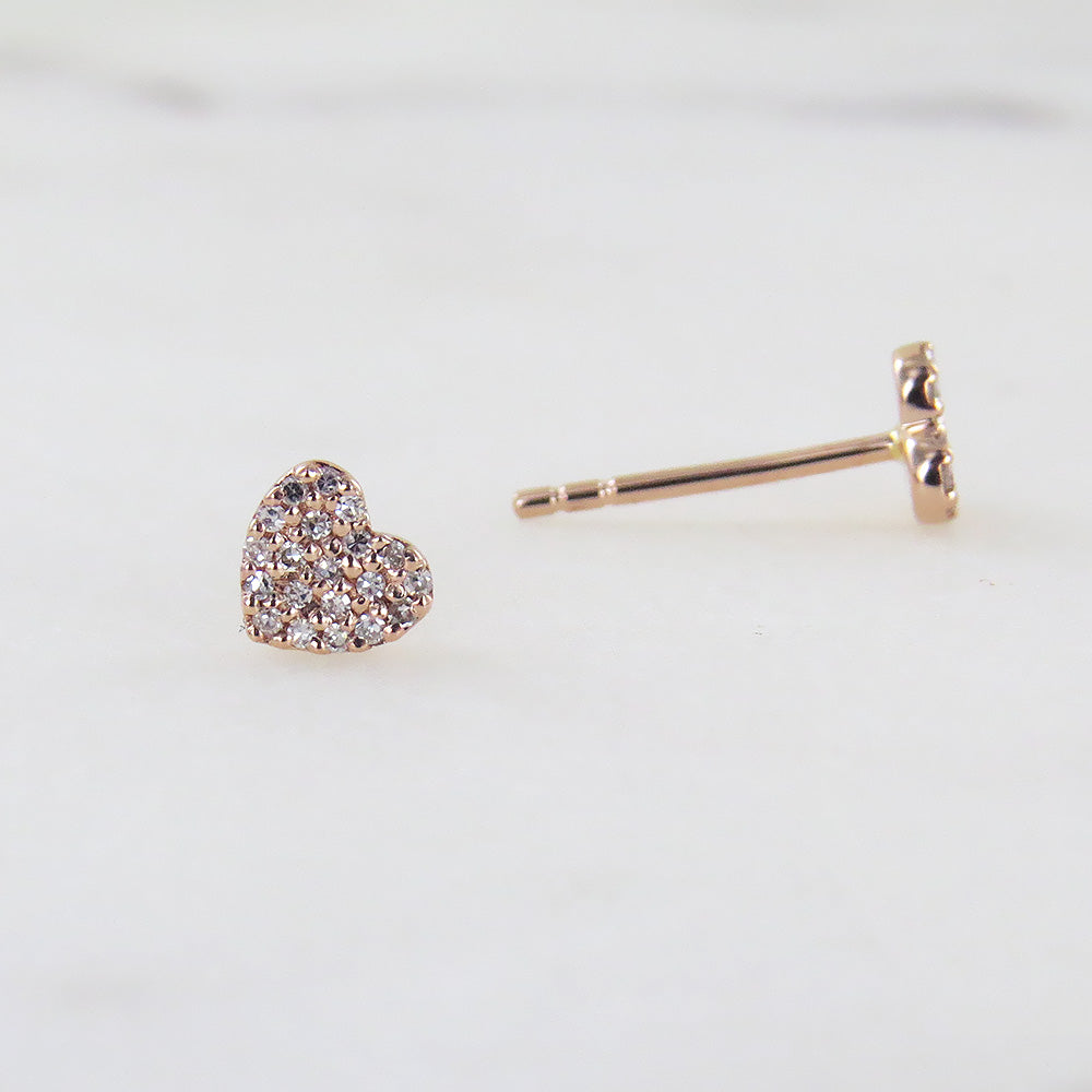 ROSE GOLD SMALL HEART PAVE POST EARRING