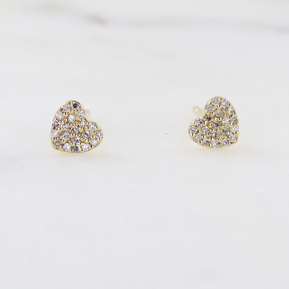 YELLOW GOLD SMALL HEART PAVE POST EARRING