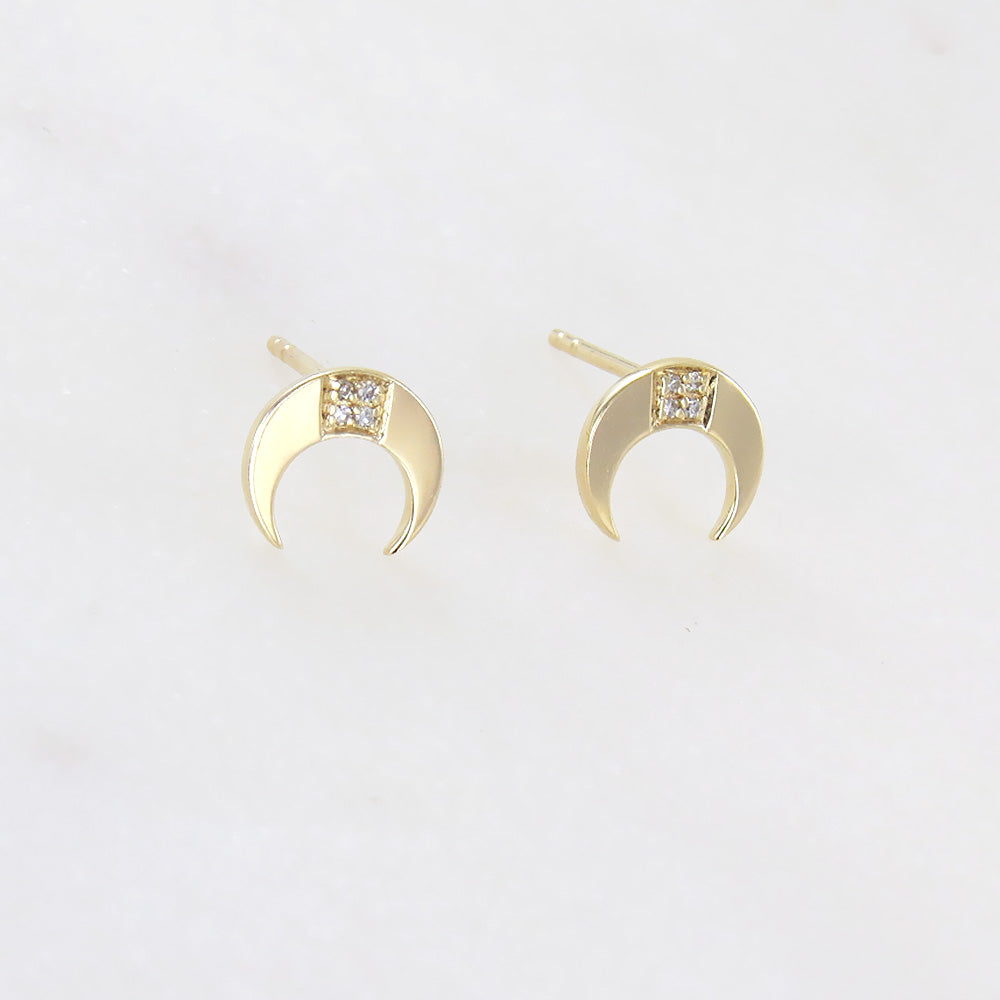YELLOW GOLD SMALL CRESCENT POST EARRINGS