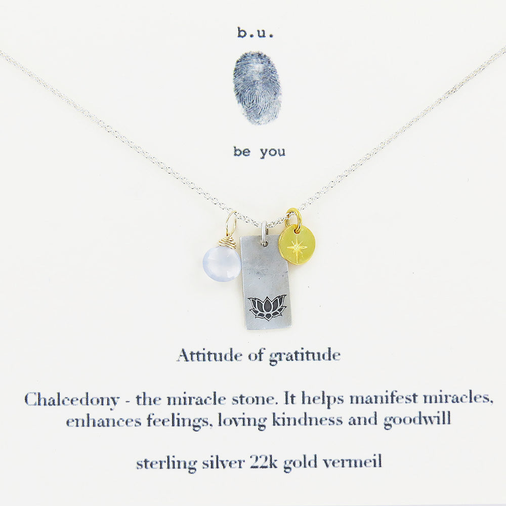 Sterling Silver, Attitude of gratitude, Chalcedony, 22k gold Vermeil