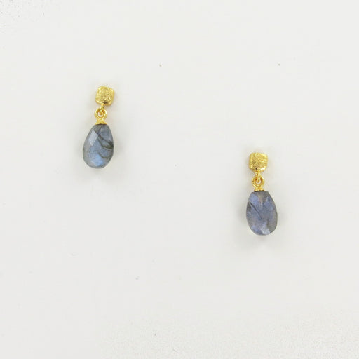 GOLD CUBE FACETED LABRADORITE EARRINGS