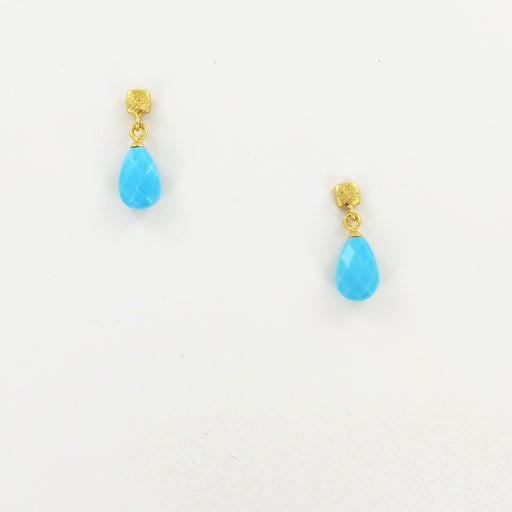 GOLD CUBE TURQUOISE EARRINGS