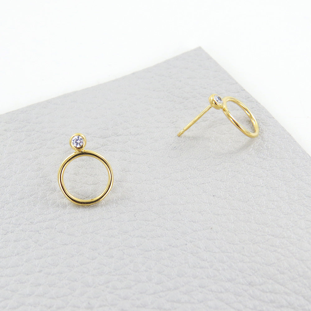 CZ GOLD CIRCLE STACK EARRING