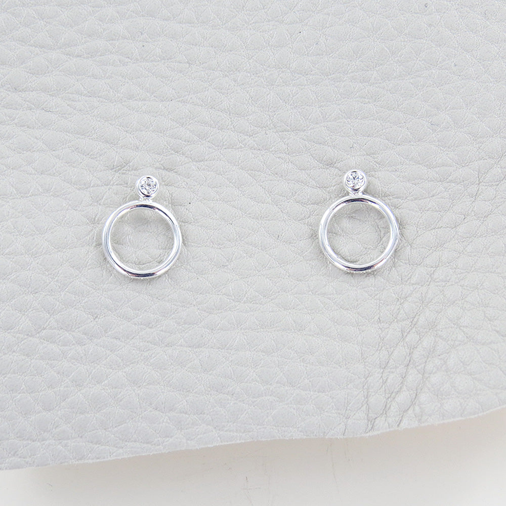 CZ SILVER CIRCLE STACK EARRING