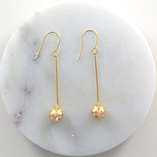 GOLD STICK AND BALL EARRING