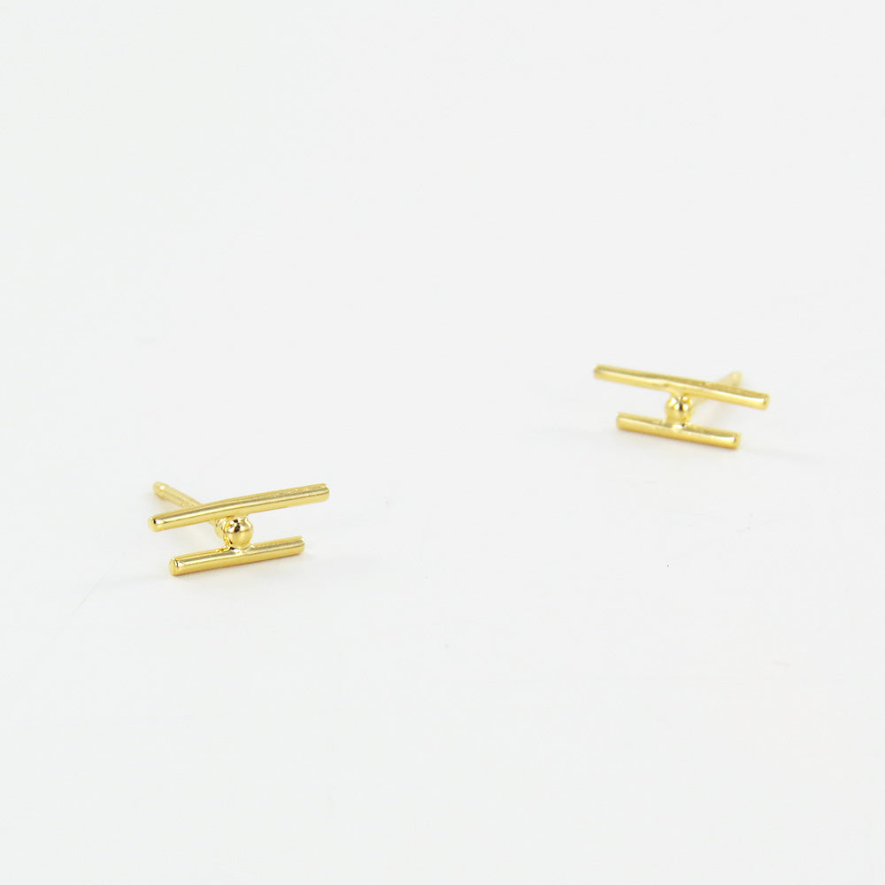GOLD BARS AND CZ POST EARRINGS