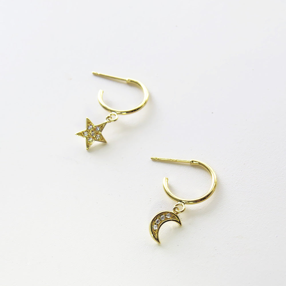 GOLD MOON AND STAR HOOP