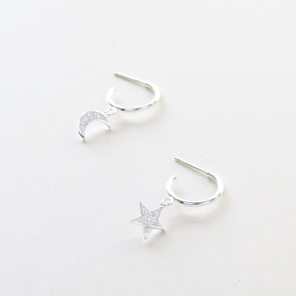 SILVER MOON AND STAR HOOP