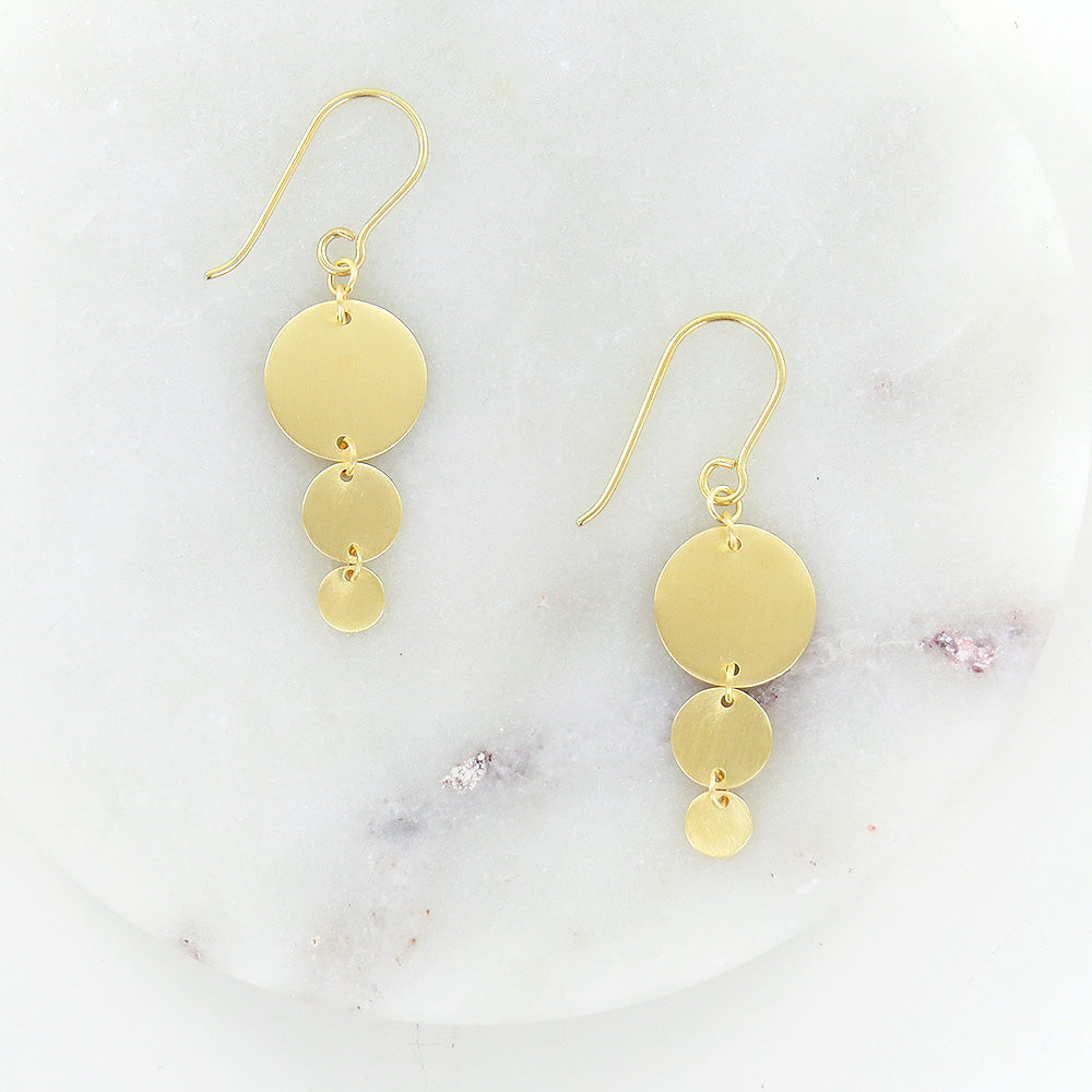 BRUSHED GOLD VERMEIL DISCS EARRING