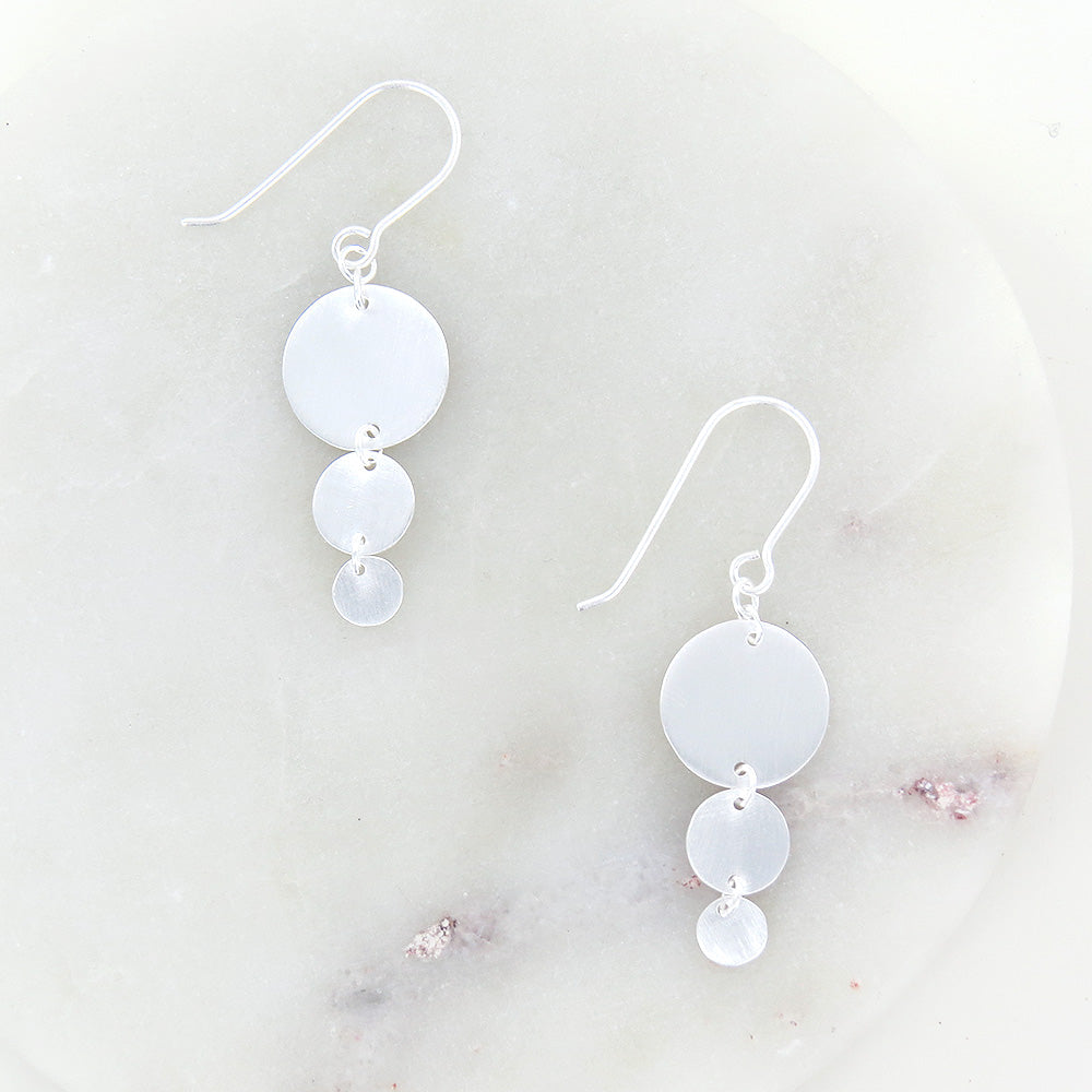BRUSHED STERLING SILVER DISCS EARRING